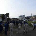 富士市水防団水害危険個所合同巡視での地域立ち合い。