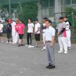 父親ソフトボール大会に始球式で参加。